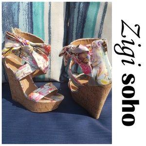 Zigi Soho Floral Wedge Open Toe Sandee Size 9